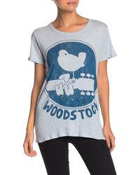 Chaser Woodstock Distressed Graphic Short-sleeve Tee - Blue
