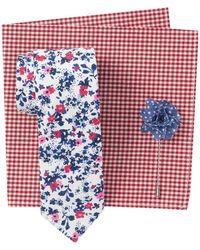 Original Penguin Mahan Floral Tie, Pocket Square & Lapel Pin Set - White