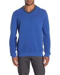 Ted Baker V-neck Knitted Golf Sweater - Blue