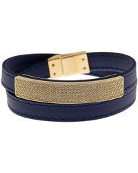 Swarovski - Crystal Accented Pave Leather Wrap Bracelet - Lyst