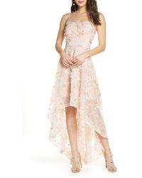 Xscape 3d Floral High/low Gown - Pink