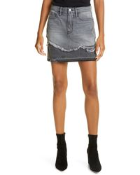 FRAME Le Mini Mended Hem Denim Skirt - Blue