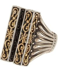 Konstantino Sterling Silver & 18k Gold Open Column Ring - Size 7 - Metallic