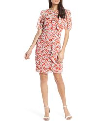 Chelsea28 Floral Print Ruched Sheath Dress - Orange