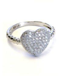 Liza Schwartz Sterling Silver Pave Heart Ring - Metallic