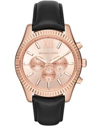 MICHAEL Michael Kors Men's Lexington Leather Strap Watch, 44mm - Multicolor