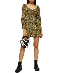 TOPSHOP Yellow Animal Tea Dress