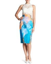 MILLY | Watercolor Print Midi Skirt | Lyst