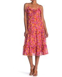 Lush Floral Print Tiered Ruffle Midi Dress