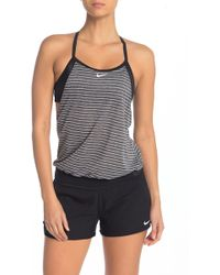 1f67ac7751 Nike - Layered Stripe Sport Bra Tankini - Lyst