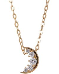 Nadri - 18k Gold Plated Cz Crescent Moon Pendant Necklace - Lyst