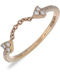 Bony Levy - 18k Rose Gold Diamond Open Chain Stackable Ring - 0.14 Ctw - Lyst