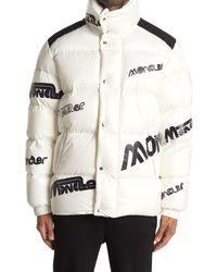Moncler Logo Print Puffer Jacket - Natural