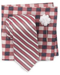 Ben Sherman Nicholas Neat Tie, Pocket Square, & Lapel Pin Set - Multicolour