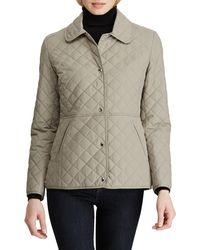 Lauren by Ralph Lauren Snap Button Faux Leather Trim Quilted Jacket - Multicolour