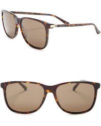 Gucci Rectangular 57mm Sunglasses - Brown