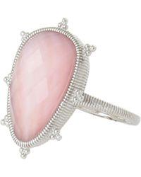 Judith Ripka Amalfi Sterling Silver Bezel Set Pink Mother Of Pearl & Quartz Doublet Ring - Size 7