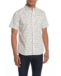 Descendant Of Thieves Lost Feather Print Short Sleeve Tailored Fit Shirt - White