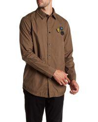 Daniel Won - Luke Leather Patch Long Sleeve Regular Fit Shirt - Lyst
