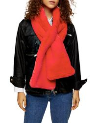 TOPSHOP Faux Fur Scarf - Red