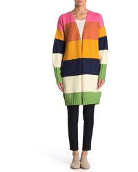 Cliche Colorblock Open Front Cardigan - Multicolor