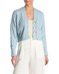 Faherty Brand Julianne Cable Knit Crop Cardigan - Blue