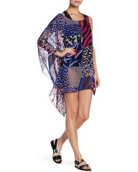 Versace - Mixed Colorblock Asymmetrical Silk Cover Up - Lyst