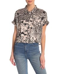 Volcom - Counting Moons Printed Crop Shirt - Lyst