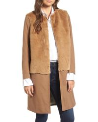 Treasure & Bond X Something Navy Faux Fur Topped Coat - Brown