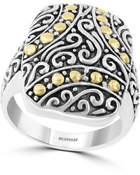 Effy Sterling Silver & 18k Gold Scroll & Dot Etched Ring - Size 7 - Metallic
