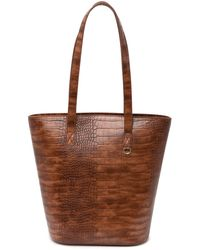 Most Wanted Usa Crocodile Embossed Tote Bag - Brown