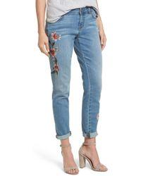Caslon (r) Embroidered Skinny Boyfriend Jeans - Blue