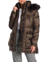 Rachel Roy Faux Fur Trim Hooded Zip Puffer Jacket - Green