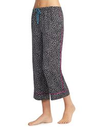 Room Service Crop Satin Pajama Pants - Black