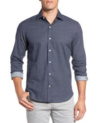 Culturata - Trim Fit Abstract Print Sport Shirt - Lyst