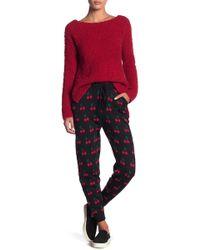 Honey Punch Cherry Print Sweatpants - Black