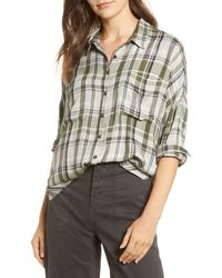 Lou & Grey Plaid Tie-front Shirt - Green