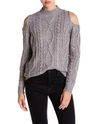 Love By Design - Cold Shoulder Cable Knit Jumper - Lyst