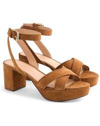 0889d5a60fc1 Lyst - J.Crew Metallic Block-heel Sandals in Metallic