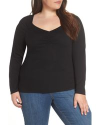 1.STATE Ruched Sweetheart Neck Top (plus Size) - Black