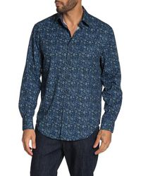 Con.struct Slim Fit Paisley Print 4 Way Stretch Long Sleeve Shirt - Blue