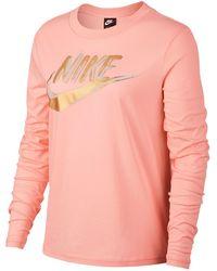 Nike - Metallic Print Long Sleeve Top - Lyst