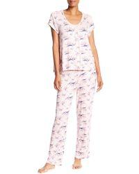 Catherine Malandrino - Short Sleeve & Pants 2-piece Pajama Set - Lyst