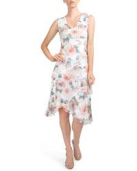 7dff5b5072 Komarov - Tiered Chiffon Dress With Wrap (regular   Petite) - Lyst