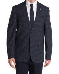 Ben Sherman Blue Check Two Button Notch Lapel Union Fit Sport Coat