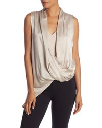 Lamarque - Side Zip Sleeveless Wrap Silk Blouse - Lyst