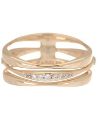Carolee River Gold-tone Sterling Silver Cz Wavy Band Ring - Metallic