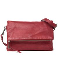 Lucky Brand Inzy Leather Flap Shoulder Bag - Red