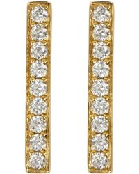 Bony Levy - 18k Yellow Gold Pave Diamond Bar Earrings - 0.22 Ctw - Lyst
