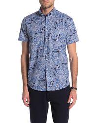 Con.struct Paisley Print Short Sleeve Sport Shirt - Blue
